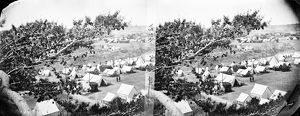 CIVIL WAR: UNION CAMP. Union camp viewed from a tree in Cumberland Landing, Virginia