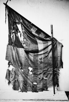 CIVIL WAR: UNION FLAG. Tattered flag of the 44th New York Infantry, during the Civil War