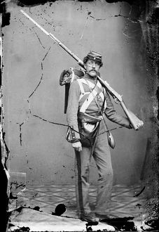 CIVIL WAR: UNION SOLDIER. A volunteer Union soldier with a rifle and bayonet. Photograph