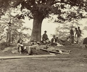 CIVIL WAR: WOUNDED, c1863. Wounded soldiers at a field hospital in Fredericksburg
