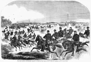 CIVIL WAR: YORKTOWN, 1862. 'The Union cavalry and artillery starting in pursuit