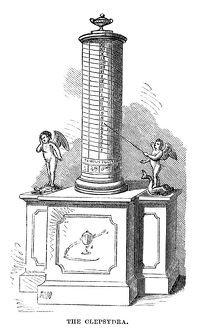 CLOCK: CLEPSYDRA. An antique water clock. Engraving, American, 1869