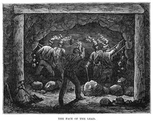 COAL MINE, 1867. Miners chiseling away the face of the lead at a coal mine near Pottsville