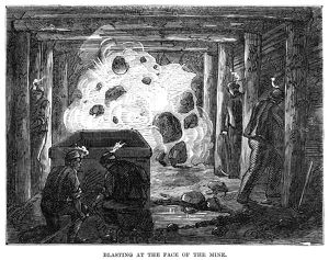 COAL MINE: BLAST, 1867. Blasting the at the face of a coal mine near Pottsville