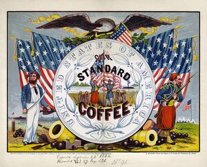 COFFEE LABEL, c1862. 'United States of America