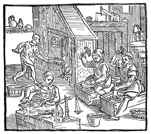 finance commerce/coiners 1577 coiners work woodcut 1577 raphael