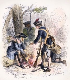 Cold and weary soldiers of the Continental Army warming themselves around an open