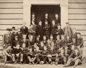 COLLEGE: STUDENTS. Students at an American college, c1900