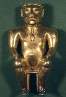 COLOMBIA: GOLD FIGURE. Gold figure of the Quimbaya, present-day Colombia, c1500.