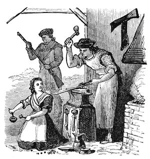 A colonial American blacksmith forges weapons at the outbreak of the Revoutionary War