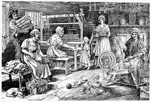 american history/colonial cloth makers carding spinning weaving