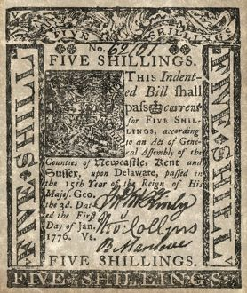 finance commerce/colonial currency 1776 shilling paper issued