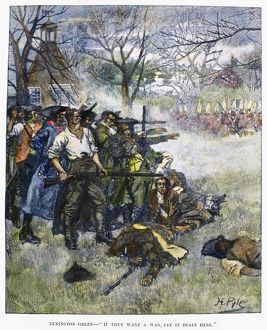 Colonial minutemen confront British troops on Lexington Green at the start of the