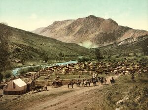 COLORADO: COWBOYS, c1898. Cattle round up at Cimarron, Colorado. Photochrome, c1898