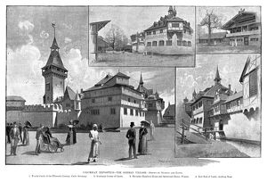 COLUMBIAN EXPOSITION, 1893. The German Village, featuring a feudal castle of the