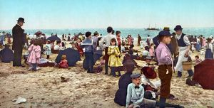 CONEY ISLAND: BEACH, c1902. The beach at Coney Island, Brooklyn, New York. Photochrome print
