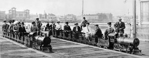 CONEY ISLAND, c1903. People on two miniature trains at Coney Island, Brooklyn, New York