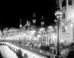 CONEY ISLAND, c1905. Luna Park at night, Coney Island, Brooklyn, New York. Photograph