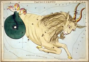 CONSTELLATION: CAPRICORN. Figuration of Carpicornus by Sidney Hall from 'Urania's Mirror