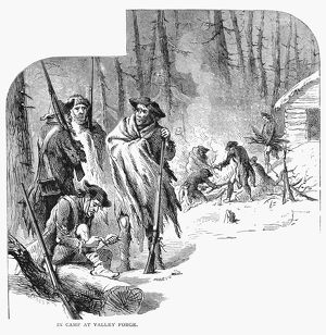 Continental Army soldiers encamped at Valley Forge, Pennsylvania, during the winter of 1777-78