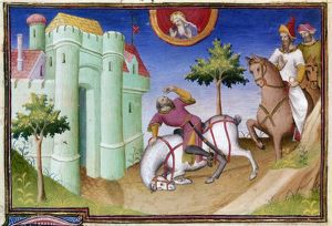 The conversion of Saint Paul on the road to Damascus. Illumination from 'Livre des Merveilles