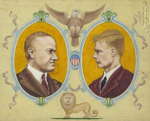 COOLIDGE AND LINDBERGH. Portraits of Calvin Coolidge and Charles Lindbergh