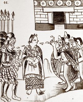 CORTES & MONTEZUMA, 1519. Doña Marina (center) interpreting during the meeting of Montezume II