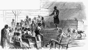 african american history/cotton plantation 1867 prayer meeting
