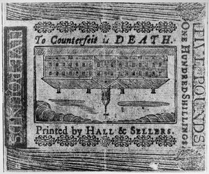 finance commerce/to counterfeit death 5 pound note printed hall
