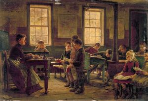 COUNTRY SCHOOL, 1890. A country schoolhouse. Oil on canvas by Edward Lamson Henry, 1890