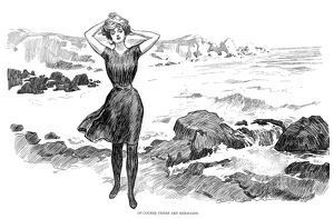 'Of course there are mermaids.' Pen-and-ink drawing, by Charles Dana Gibson