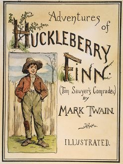 Cover from the original edition, 1885, of Mark Twain's 'Adventures of Huckleberry