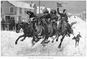 COWBOY CHRISTMAS, 1889. 'Cow-Boys Coming to Town for Christmas