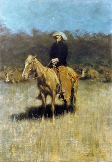 COWBOY SINGING. A cowboy singing to his herd at night. Oil on canvas by an unknown American artist
