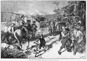 COWBOYS, 1880. 'Among the cow-boys - Breaking camp.' Engraving, 1880
