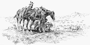 COWBOYS, 19th CENTURY. 'Time to Talk.' Drawing by Charles M. Russell (1864-1926)