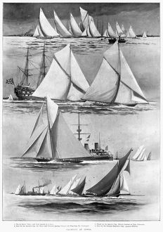 COWES REGATTA, 1898. Scenes from the Cowes Regatta in England. Top to bottom: the Two