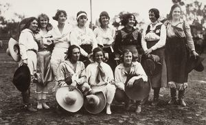 COWGIRLS, 1910. Female rodeo performers, c1910, in the American Southwest