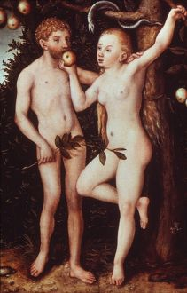 CRANACH: ADAM AND EVE. Painting by Lucas Cranach (1472-1553).