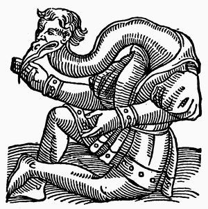 CRANE-HEADED MAN, 1557. Woodcut from the 'Prodigiorum' of Conrad Lycosthenes, 1557