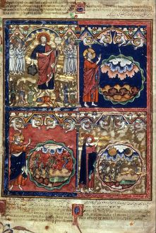 CREATION. First four days of Creation, from a French manuscript, c1250