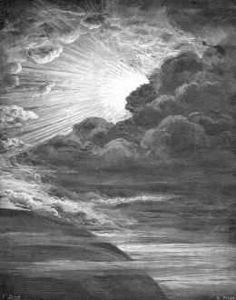 CREATION OF LIGHT. The Creation of Light (Genesis 1:2). Wood engraving after Gustave Dore