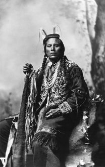 CROW SCOUT, 1883. Curley, a Crow Native American scout. Photographed by F. Jay Haynes