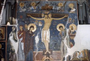 CRUCIFIXION, c1200. 'Crucifixion.' Fresco from Church of the Holy Virgin at the