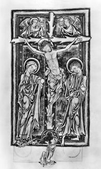 CRUCIFIXION, c1250. Illumination from a Psalter, c1250, produced for the Benedictine