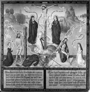 CRUCIFIXION. Painting by the Master of the Legend of Saint Barbara, late 15th century