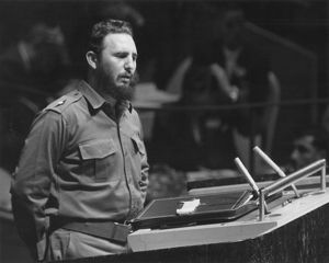 Cuban revolutionary leader. Addressing the General Assembly of the United Nations in New York City