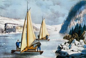 CURRIER & IVES WINTER SCENE. 'Ice-Boat Race on the Hudson': undated (c1860)