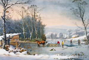 CURRIER & IVES WINTER SCENE. 'Winter in the Country: Getting Ice': lithograph