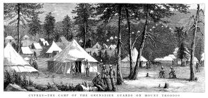 CYPRUS: ARMY CAMP, 1885. Camp of the British Army's Grenadier Guards on Mount Troodos